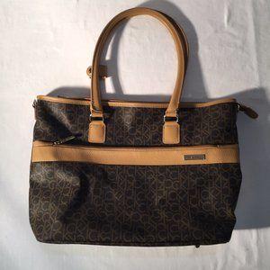 Calvin Klein  Brown/Tan Monogram Tote Bag